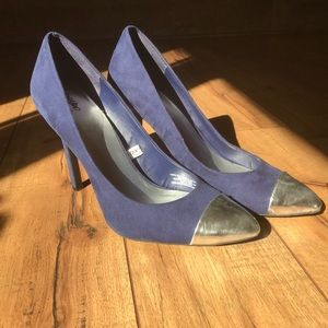 Mossimo Silver Toe Blue Suede Heels
